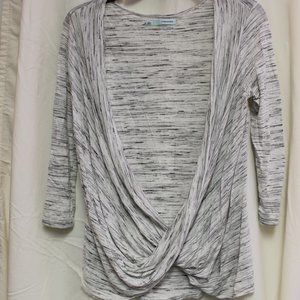 MAURICE Heathered Gray Open Front Wrap Cardigan S